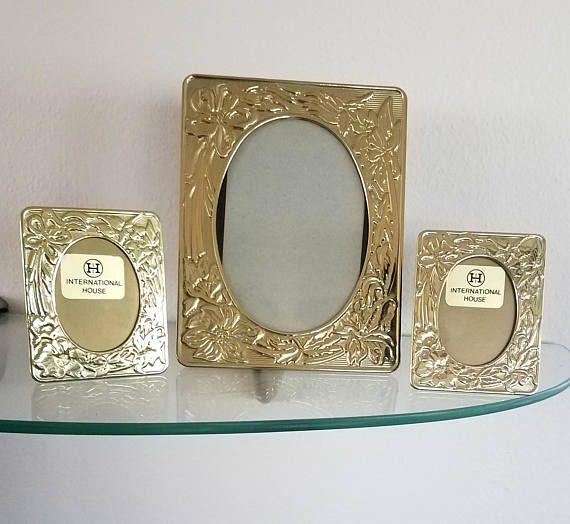 Vintage Picture Frames Metal Embossed Floral Art Nouveau Style