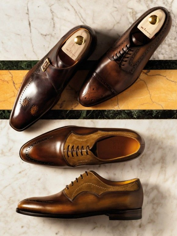 Perforated Monk, Cap Toe derby, Suede Mix Oxford Kiton footwear