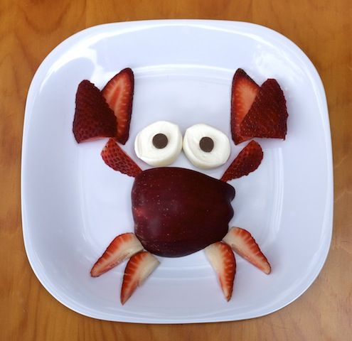 """Your kids won't be """"crabby"""" when you serve them this fun and easy to make summer snack! Learn how to make it here: http://www.recipe.com/blogs/cooking/kids-snack-recipe-fruity-crab/?socsrc=recpin071012crabfruitsnack"""