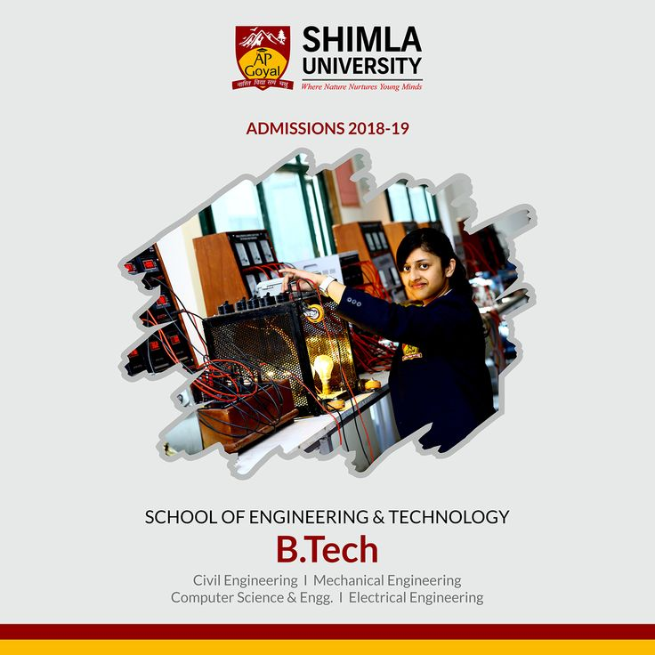 Opening new career avenues for Engineering Aspirants. #BTech - School of #Engineering & #Technology  Civil Engineering I Mechanical Engineering  Computer Science & Engg. I Electrical Engineering Admissions 2018-19 Shimla University - AGU Explore more at www.agu.edu.in
