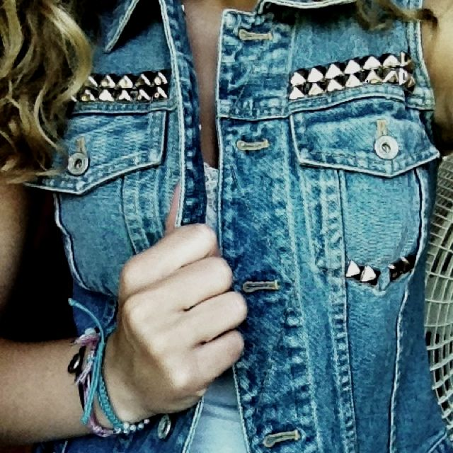 DIY studded denim vest. Studs are from www.studsandspikes.com