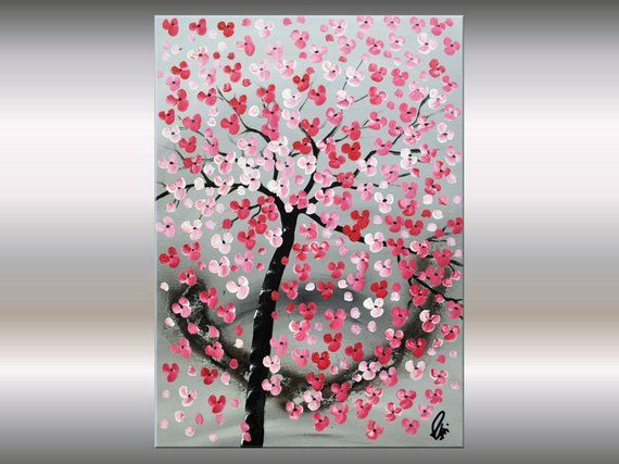 Red Cherry Blossoms, Acrylic Painting, Abstract #a…