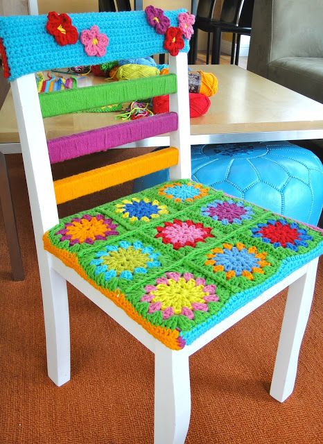 Yarn Bombed Chair by Val Chan of Val's Corner. Made with Lion Brand Kitchen Cotton!