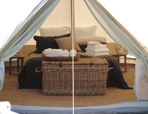Our 5m bell tent. Fully furnished and ready for guest to get cosy in.