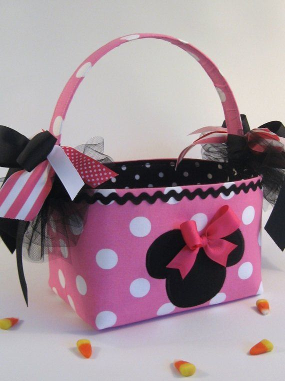 Minnie Mouse Halloween Costume Pink Birthday Party Basket Centerpiece Gift Bag.