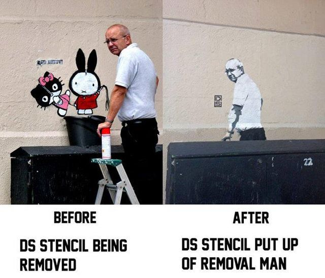 «This is a shot of London stencil artist DS's first piece at a location, and the piece he replaced it with after taking a picture of the dude who painted over it.»