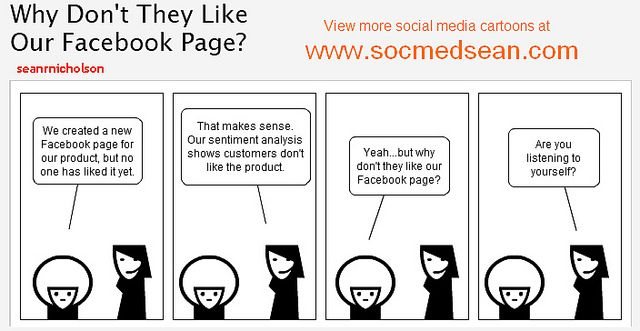 Social Media Comic: Why Don't Our Customers Like Our Facebook Page? by seanrnicholson, via Flickr: Social Media Tips, Social Marketing, Business Hour, Media Comic, Marketing Hacks, Cheat Sheet, Marketing Mistakes, Facebook Marketing, Socialmedia