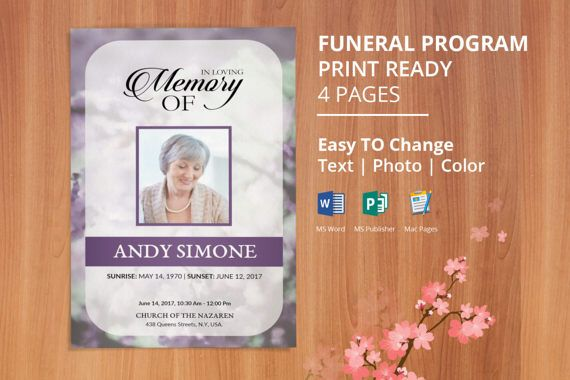 Printable Funeral Program Template, Memorial Obituary Template, Editable  With Microsoft Word, Publisher And Mac Pages, Instant Download EF02