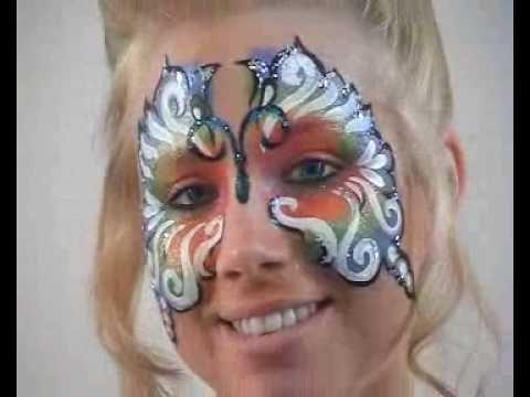 #Kinderschminken leicht gemacht. Ein Regenbogen Schmetterling als #Schminkidee zu #Karneval.   Profi-#Schminke von #Eulenspiegel erhältlich in unserem Shop: http://www.creativ-discount.de/Profi-Schminke-Eulenspiegel.htm?websale8=party-discount.creativ_web_de&ci=61-5408
