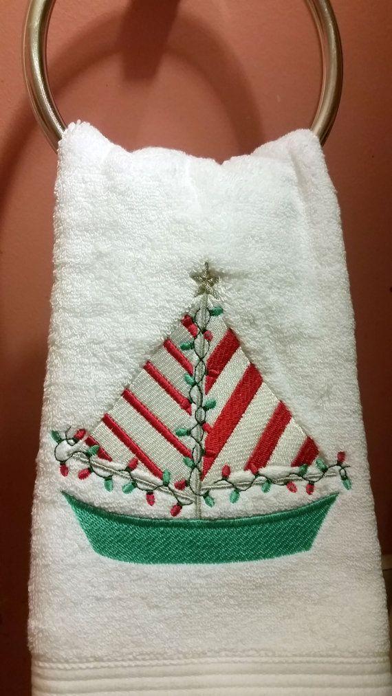 Christmas Sailboat Embroidered Bathroom Hand by ByTheSeashoreDecor