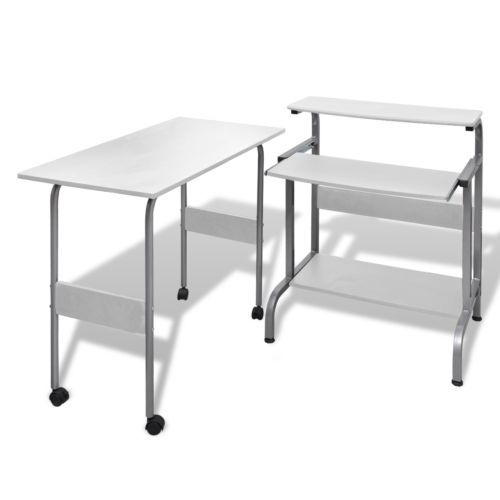Computertisch Schreibtisch Computerwagen PC Tisch Bürotisch Einstellbar  Weiß #S