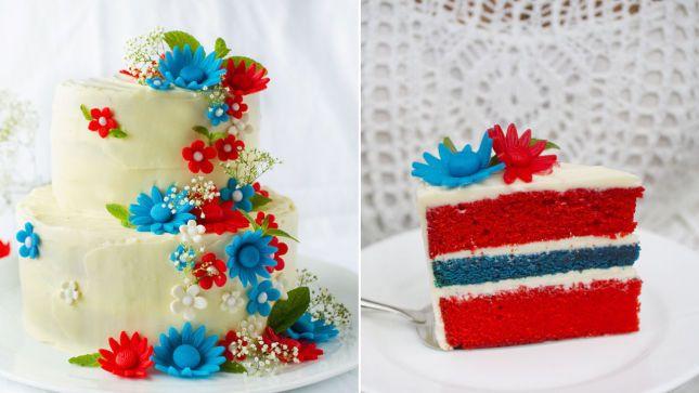 17.mai-kake i rødt, hvitt og blått med blomster