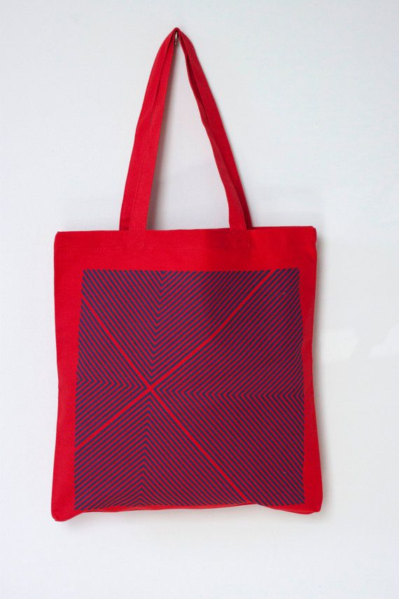 Four Corners Hand-Printed Tote in Blue and Red - Geometric Tote