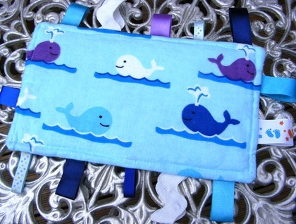 Baby & Toddler Tactile Comfort Bankets - Blue with Whales