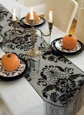Gothic Damask Fringed Table Runner An Elegant Brocade Conceals Subliminal Cobwebs And Skulls Within The Lace Pattern 15 X