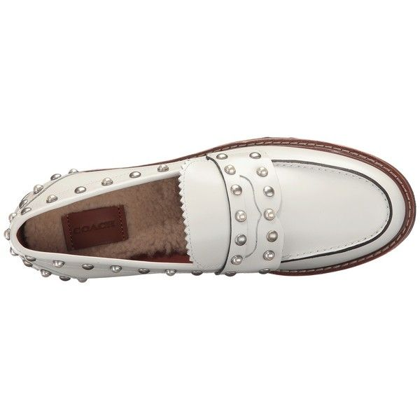 39514455c6c COACH Lenox Rivets Loafer (Sand Dollar) Women s Slip on Shoes ( 350) ❤  liked on Polyvore featuring shoes