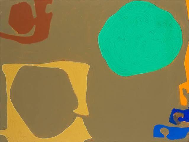 Patrick Heron - Ochre Enclosing Umber With Emerald Disc And Peripheral Orange: November - 1968
