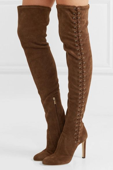 493d0fd0d461 Jimmy Choo Marie 100 Stretch-suede Over-the-knee Boots - Tan in 2019 ...
