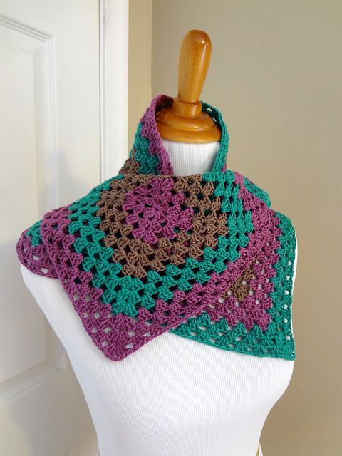 #crochet pattern Ravelry: Napa Valley Wrap pattern by Fiber Flux / Jennifer Dickerson ( The wrap is constructed with four classic granny squares joined together to make a lovely wrap )