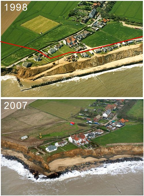 Coastal erosion at Happisburgh, Norfolk. More than 40 meters of land was lost between 1998 and 2007.