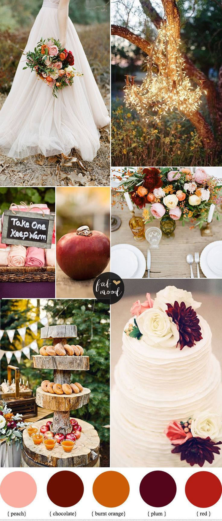 Burnt Orange Peach and Plum Wedding { Autumn Weddings }.  #wedding