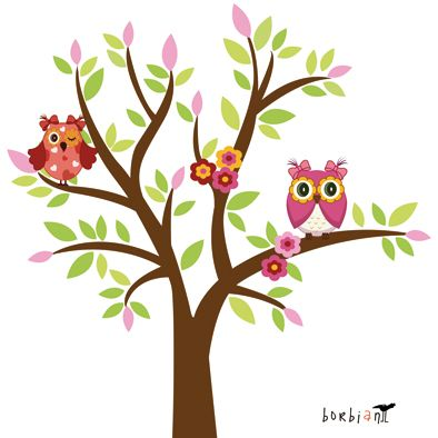 tree with two owls wall decal