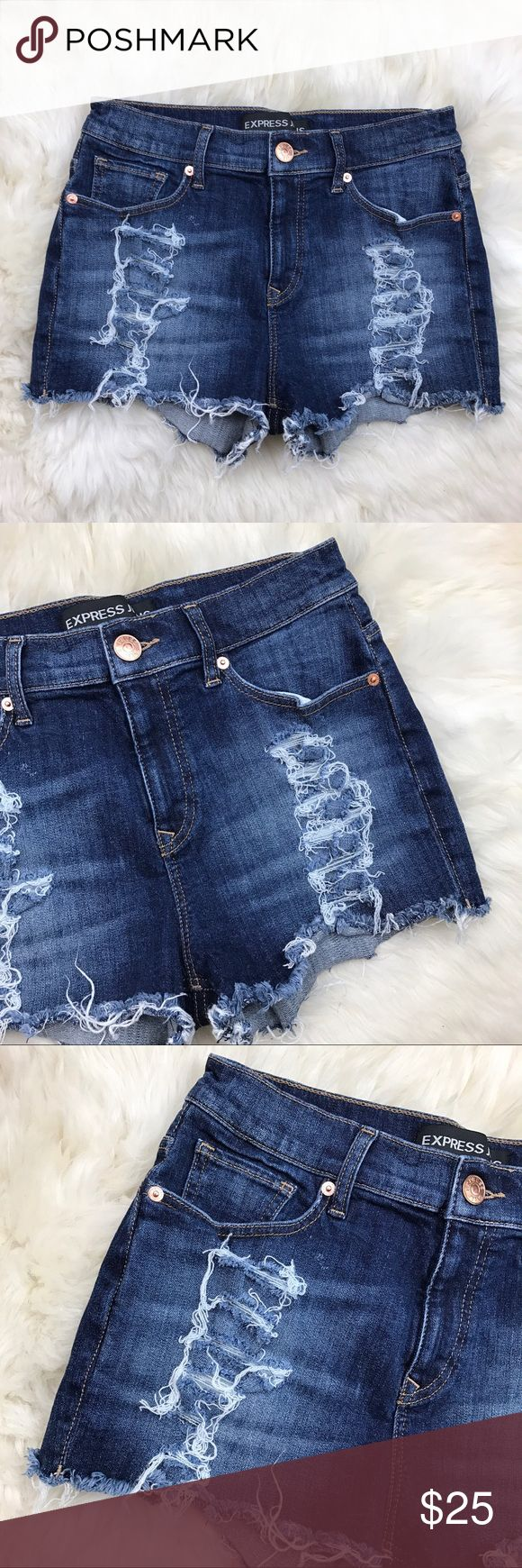 "Express Distressed Frayed Boyfriend Denim Shorts In excellent used condition. Materials are 98% cotton & 2% spandex. Very stretchy.  Measurements are 11 1/2"" in length, 11"" front rise, 2"" inseam, & 14 1/2"" across waist. 5 pockets.  Zipper on front center with button closure. Fraying and distressing on front & back. ❌NO TRADES OR PAYPAL❌ Express Shorts Jean Shorts"