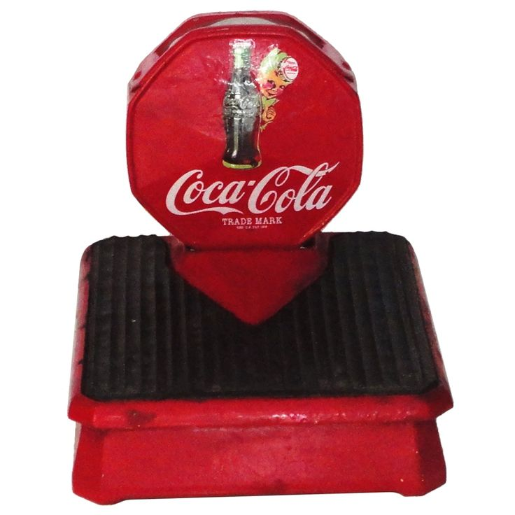 Vintage Coca-Cola Red Painted Iron  Weight  Scale | From a unique collection of antique and modern bathroom fixtures at http://www.1stdibs.com/furniture/building-garden/bathroom-fixtures/