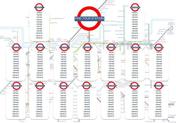 London Tube Map Table Seating Plan with Stations by KindricksCakes