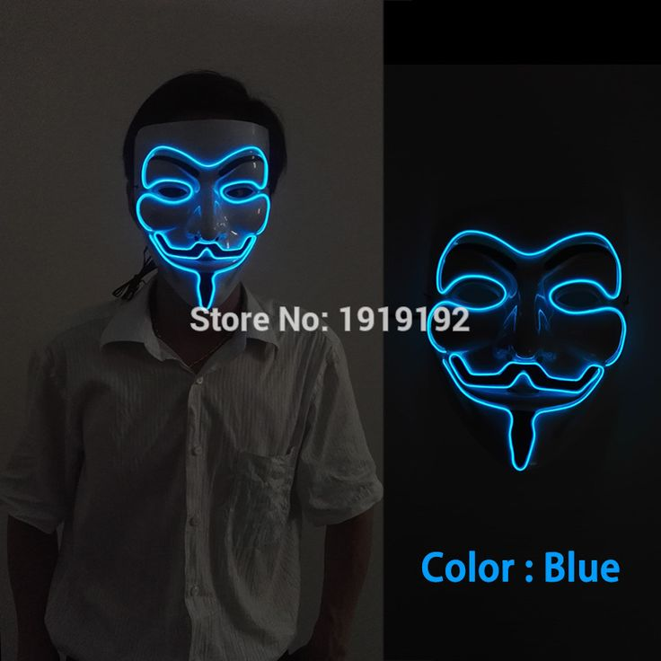 10 color El Wire Rave LED Mask, Light up Guy Fawkes, Anonymous, V for Vendetta Mask, Edm, Halloween By 3VSound Active driver