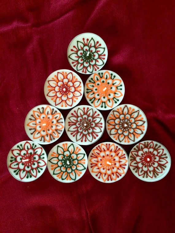 10 pcs large tealights - Henna Tealights - Mehndi Decor - Mehndi Tealights - Tealight Candles - Party Favors - Henna Favors - Mehndi Favors