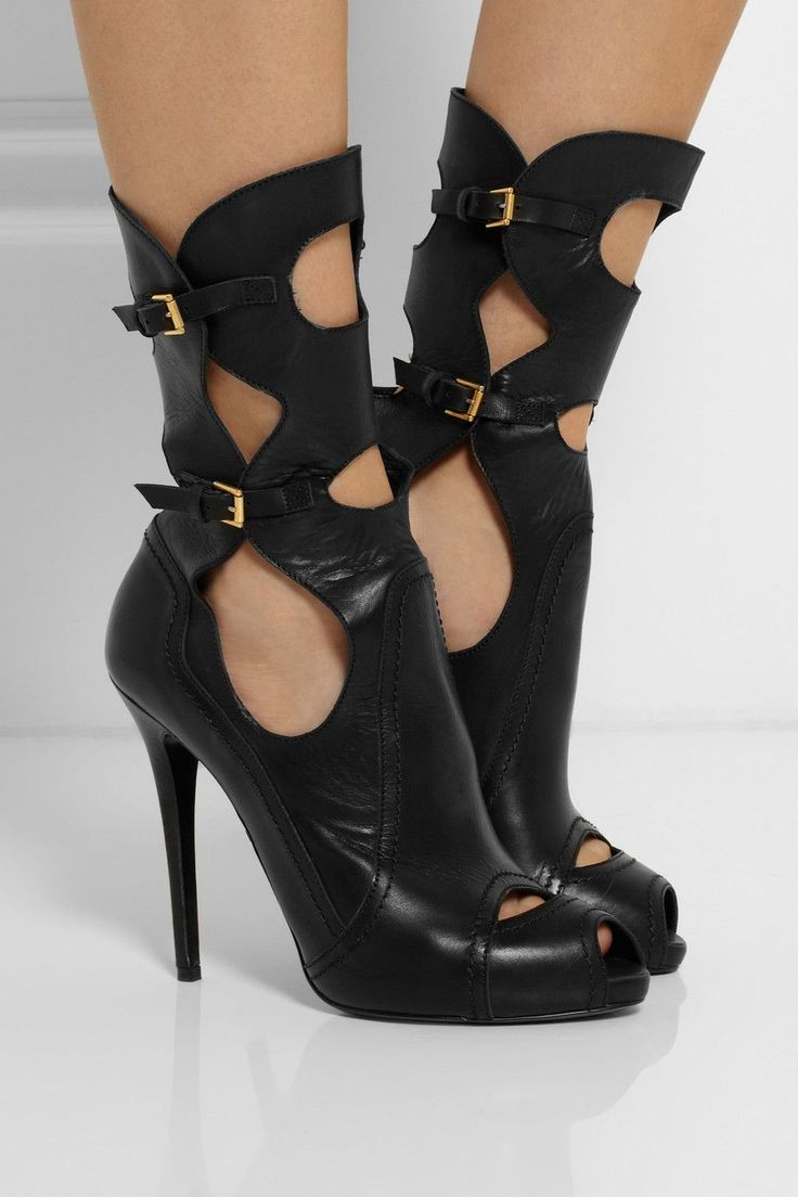 Alexander McQueen Cutout Leather Boots $1,635 Fall 2014 #McQueen #Boots #Shoes