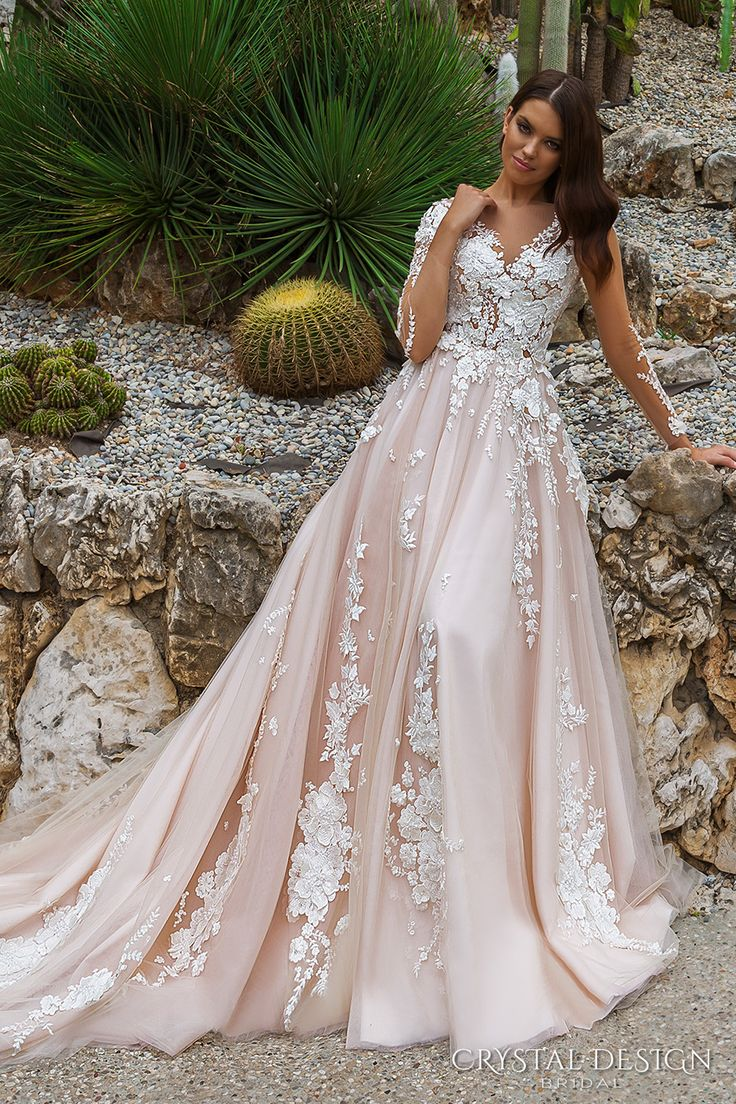 crystal design 2017 bridal long sleeves v neck heavily embellished lace embroidered romantic princess blush color a  line wedding dress sheer back long monarch train (aniya) mv