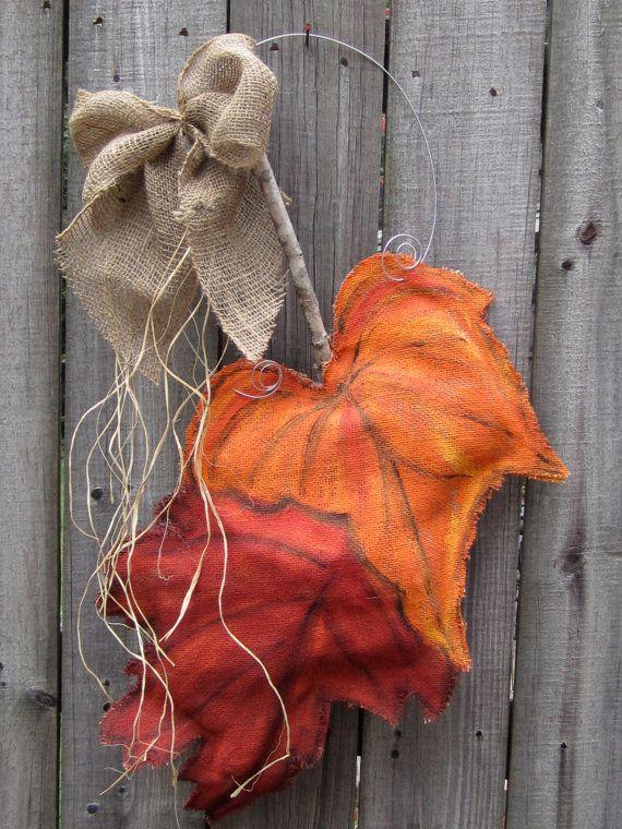 Burlap Door Hanger Fall Leaves Burlap Door Hanging. $28.00, via Etsy.