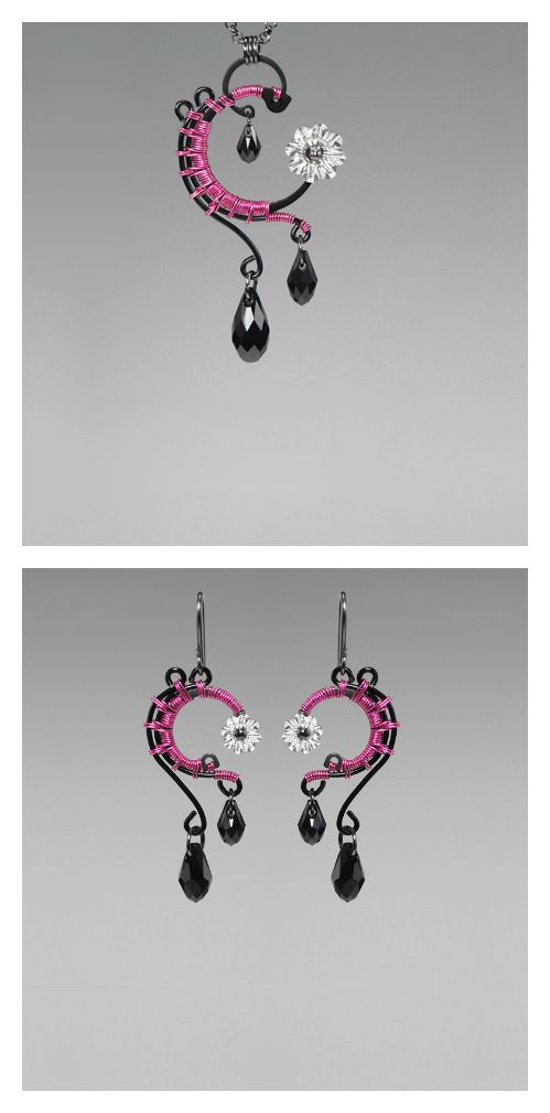 Adrastea: Bold industrial pendant and earrings with clear & black Swarovski crystal accents and hot pink wire wrapping...
