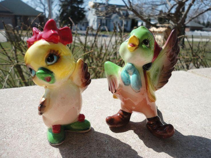 Vintage Anthropomorphic Japan Bird Saltu0026pepper Shakers*cute