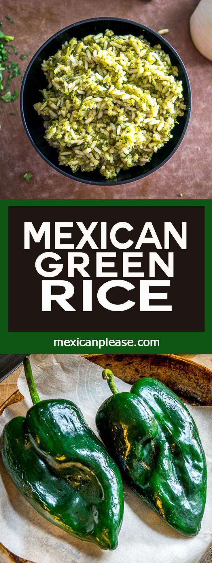 Roasted poblano peppers are the key to this authentic Mexican Green Rice. I've also been adding a handful of spinach to it lately. So good! mexicanplease.com