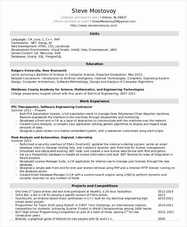 Embedded Software Engineer Resume Fresh Software Engineer Resume Example 10 Free Word Pdf Resume Software Engineering Resume Templates Engineering Resume