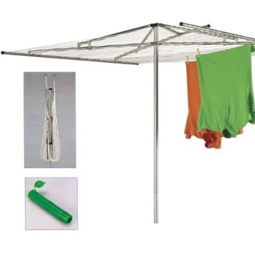 Household Essentials 30 Line Outdoor Parallel Style Umbrella Clothes Dryer with Steel Arms. No need to bleach cloth diapers and towels. Dry them outside in natural sunlight to disinfect.