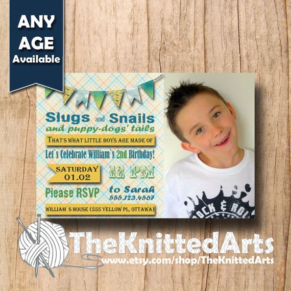Birthday Party Invitation. 4x6. Slugs and Snails Design. Customized then Print at Home.
