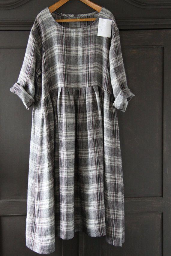 Linen Plaid Dress. Etsy.