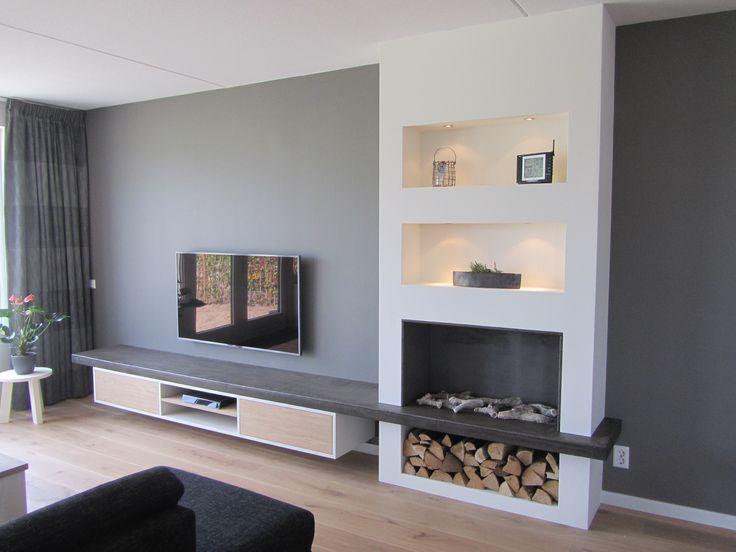 <p>TV meubel met geïntegreerde haard</p>