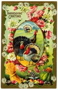 free printable digital image design resource ~ vintage Thanksgiving Greetings postcard