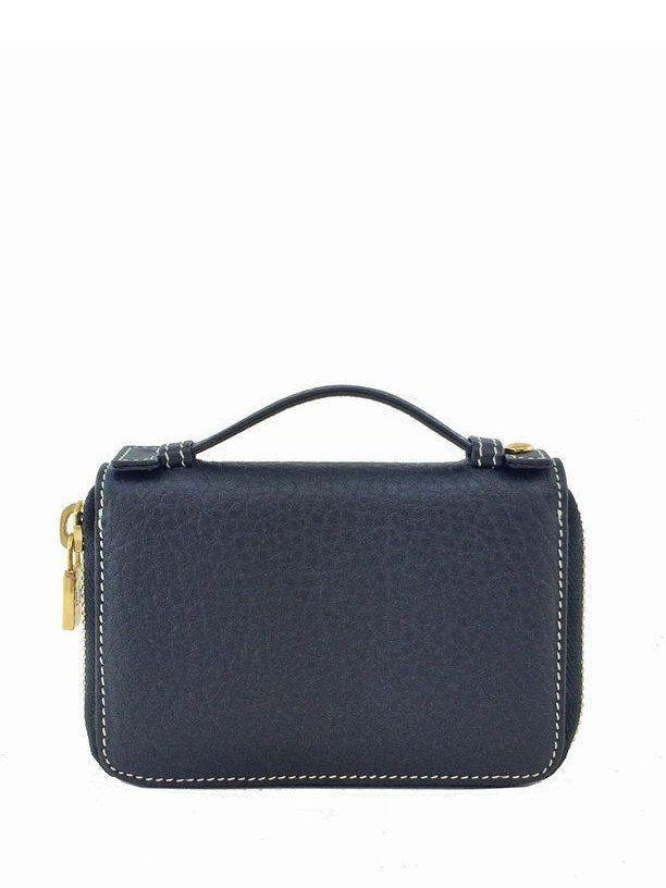 Loro Piana Mini Pochette Fjord Leather Zipper Wallet Black
