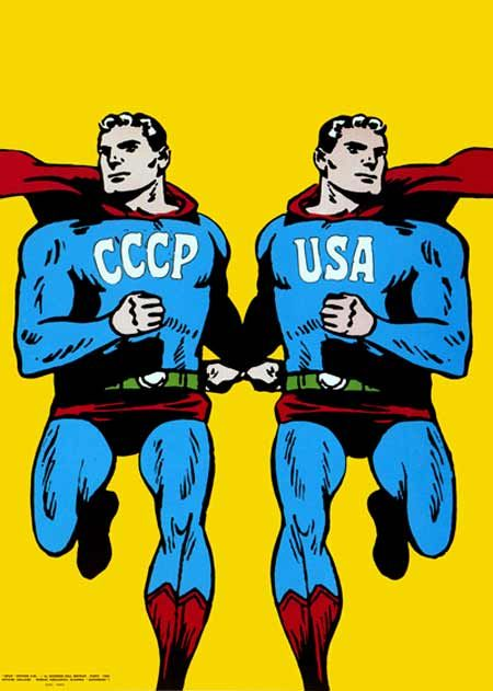 """This poster, which appears on the front cover of David Crowley's """"Posters of the Cold War"""" book, depicts the USA and USSR, side-by-side, as identical Superman characters. It implies that each nation is simply a mirror image of the other and that both are equally harmful and destructive. Cieslewicz uses the Superman character as a symbol of masculinity, machismo and the ridiculousness of the Cold War in general."""