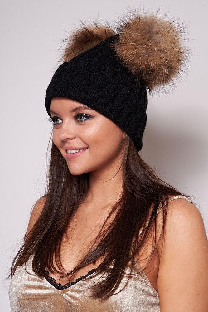 Masie Black Double Fur Pom Pom Hat