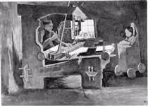 Weaver Facing Right, Interior with One Window and High Chair - Vincent van Gogh
