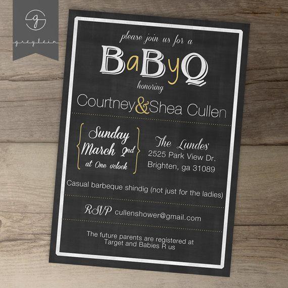 BaByQ Baby Shower Invitation / guy friendly / co-ed BBQ baby shower DIY Printable Invitation / chalkboard