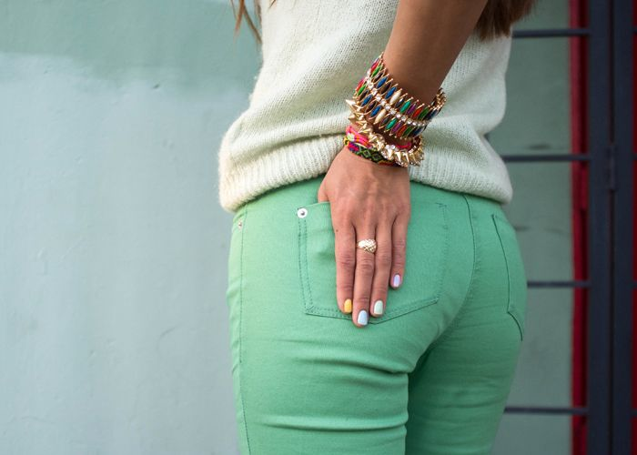 teal jeans!: Green Jeans, Mint Pants, Colors Pants, Mint Green, Colors Jeans, Bracelets, Mint Jeans, Colors Denim, Green Pants