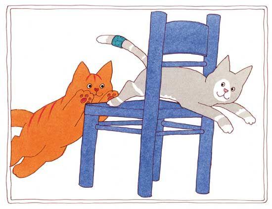 Prent 4 - 'Pak me dan, als je kan' roept Poes Muis. Ze springt op de stoel en, hup, er weer af. Dikkie Dik rent haar achterna.